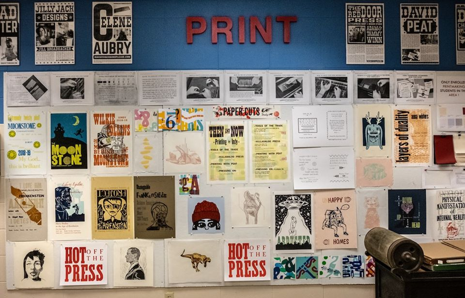 Letterpress prints displayed in Christel DeHaan Fine Arts Center